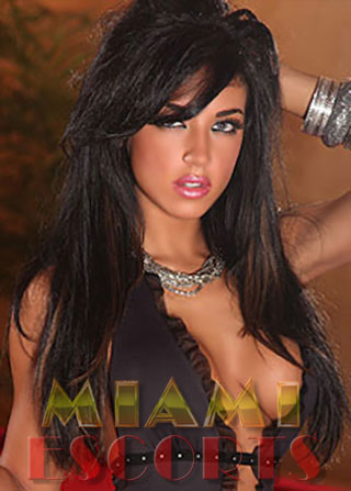 Brunette shows off bust for escort service in Miami.